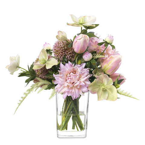 Allium and dahlias in glass rectangle - Faux Floral Couture