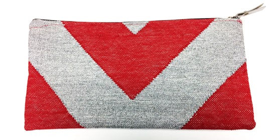 Dhurrie Rug Clutch - Red & Silver
