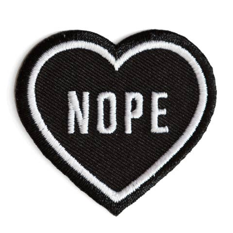 Nope Heart Black Embroidered Iron-On Patch - by OKcollective Candle Co. Made in Oklahoma City