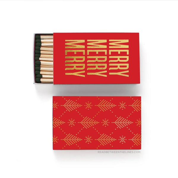 Merry Merry Merry Large Holiday Matchbox - by OKcollective Candle Co. Made in Oklahoma City