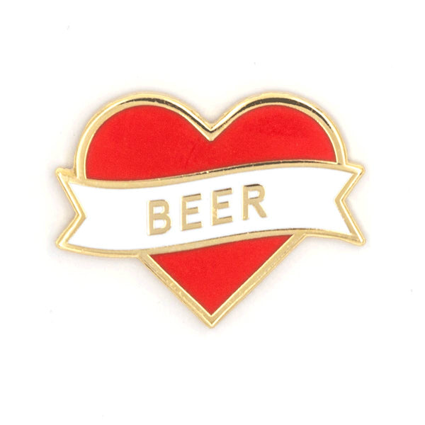 Heart Beer Enamel Pin - OKcollective Candle Co.