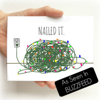 Nailed It Christmas Lights Greeting Card