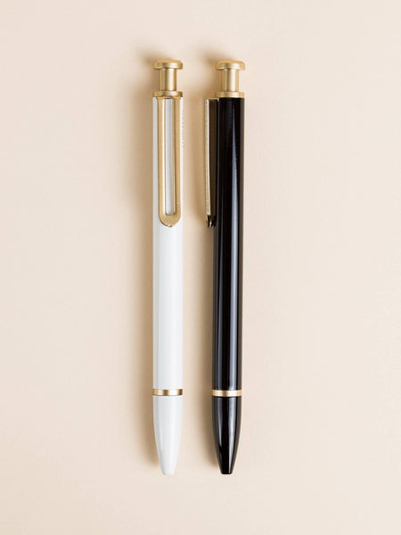 Black and White Monterey Ballpoint Pens, Gold Accents, Set of 2