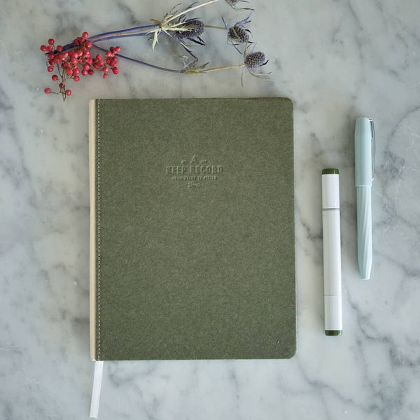 Canvas Bound Keep Record Olive Journal - by OKcollective Candle Co. Made in Oklahoma City