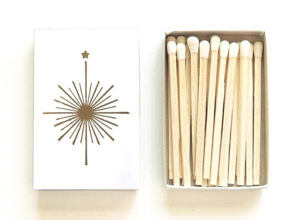 Compass Mini Matchbox, Black or White - by OKcollective Candle Co. Made in Oklahoma City
