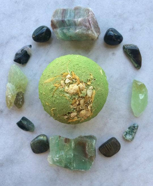 Green Goddess Large Bath Bomb - by OKcollective Candle Co. Made in Oklahoma City