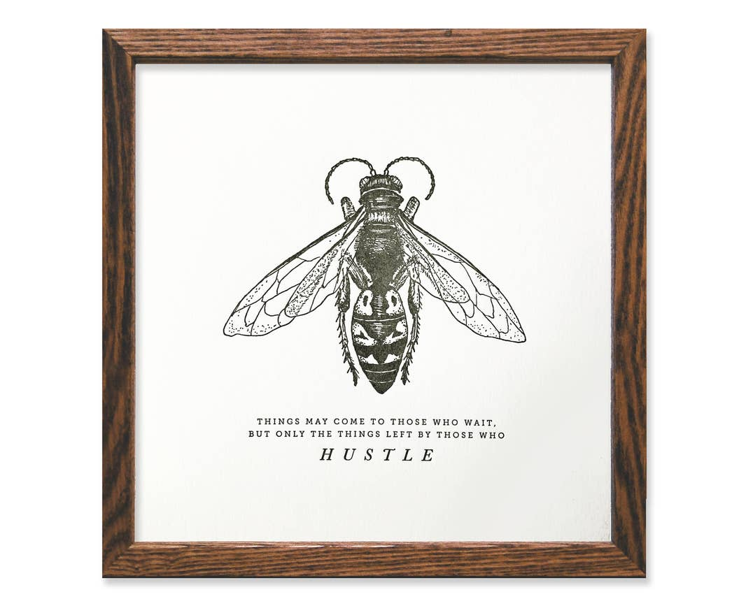 Hustle Bee Letterpress Art Print - by OKcollective Candle Co. Made in Oklahoma City