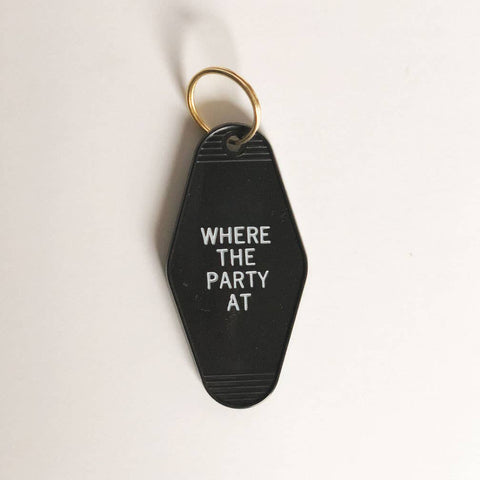 Where The Party At Retro Motel Keychain - by OKcollective Candle Co. Made in Oklahoma City