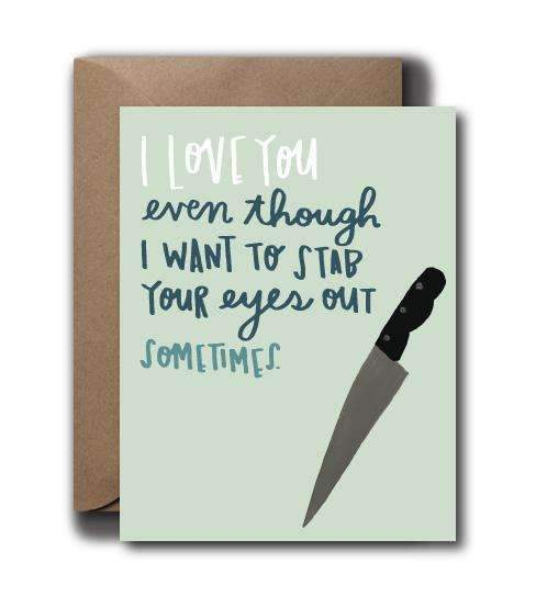 Stab Eyes Love Greeting Card - by OKcollective Candle Co. Made in Oklahoma City