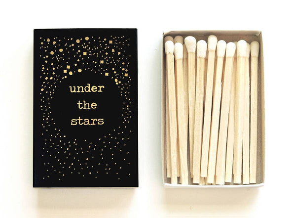 Under The Stars Mini Matchbox, Black or White - by OKcollective Candle Co. Made in Oklahoma City