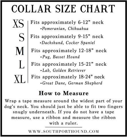 Southport Hound Dog Collar Size Chart