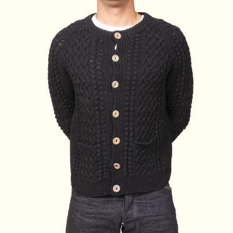 Inverallan 4a Golfer Cardigan Black Denim