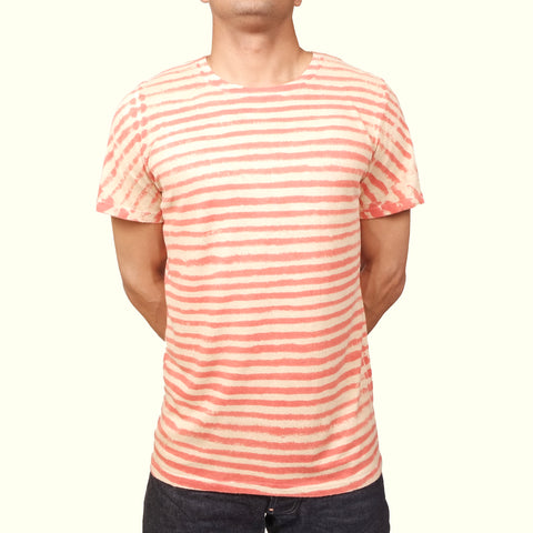 Jungmaven Baja T-shirt Thin Stripe Red/Black Tea