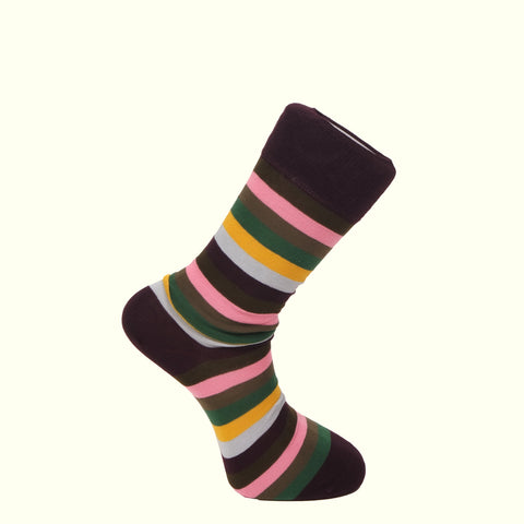 Corgi Striped Socks Wine