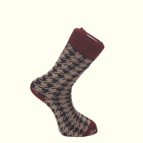 Corgi Pattern Socks Beige/Wine