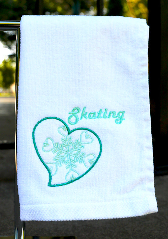 Snowflake Heart Skating Towel