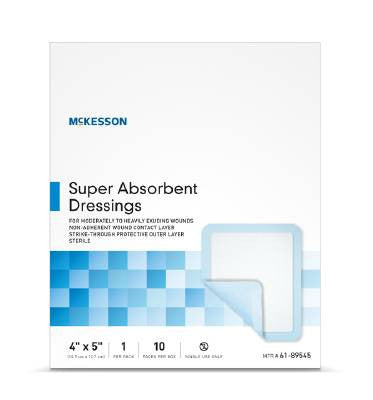 McKesson Super Absorbent Dressing 4x5 Sterile - CheapChux