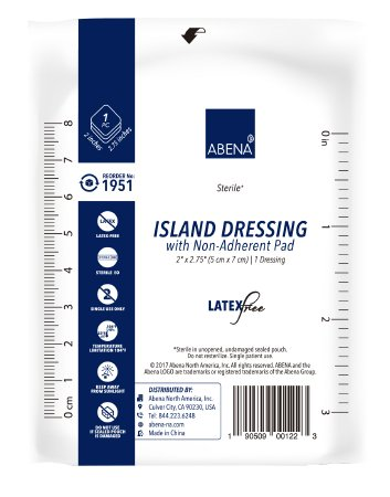 "Abena Island Dressing with Non Adherent Pad, Sterile 2"" x2.75"" - CheapChux"