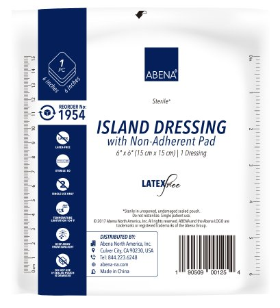 "Abena Island Dressing with Non Adherent Pad, Sterile 6"" x 6"" - CheapChux"