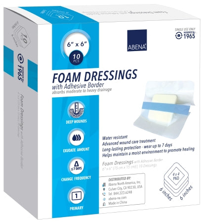 "Abena Foam Dressing with Adhesive Border 6""x6"" - CheapChux"