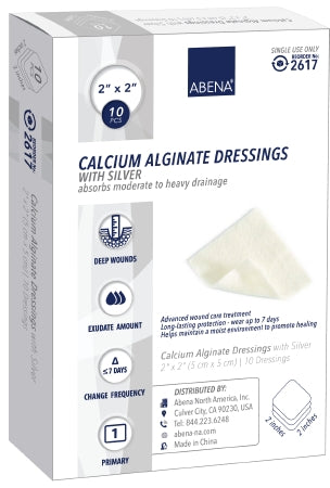 "Abena Calcium Alginate Dressing with Silver 2""x 2"" - CheapChux"