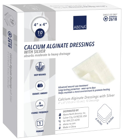 "Abena Calcium Alginate Dressing with Silver 4""x 4"" - CheapChux"