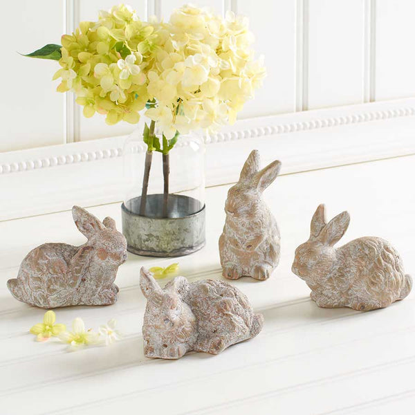 Assorted White Washed Ceramic Bunnies (4 Styles)