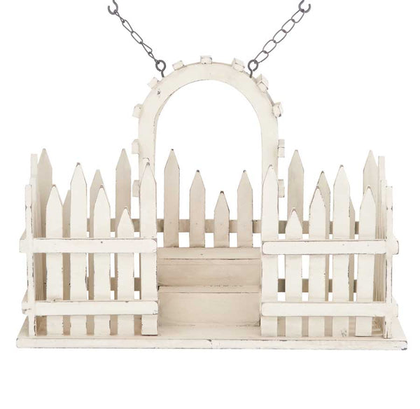 White Wood Picket Fence w/2 Pot Openings Arrow Replacement