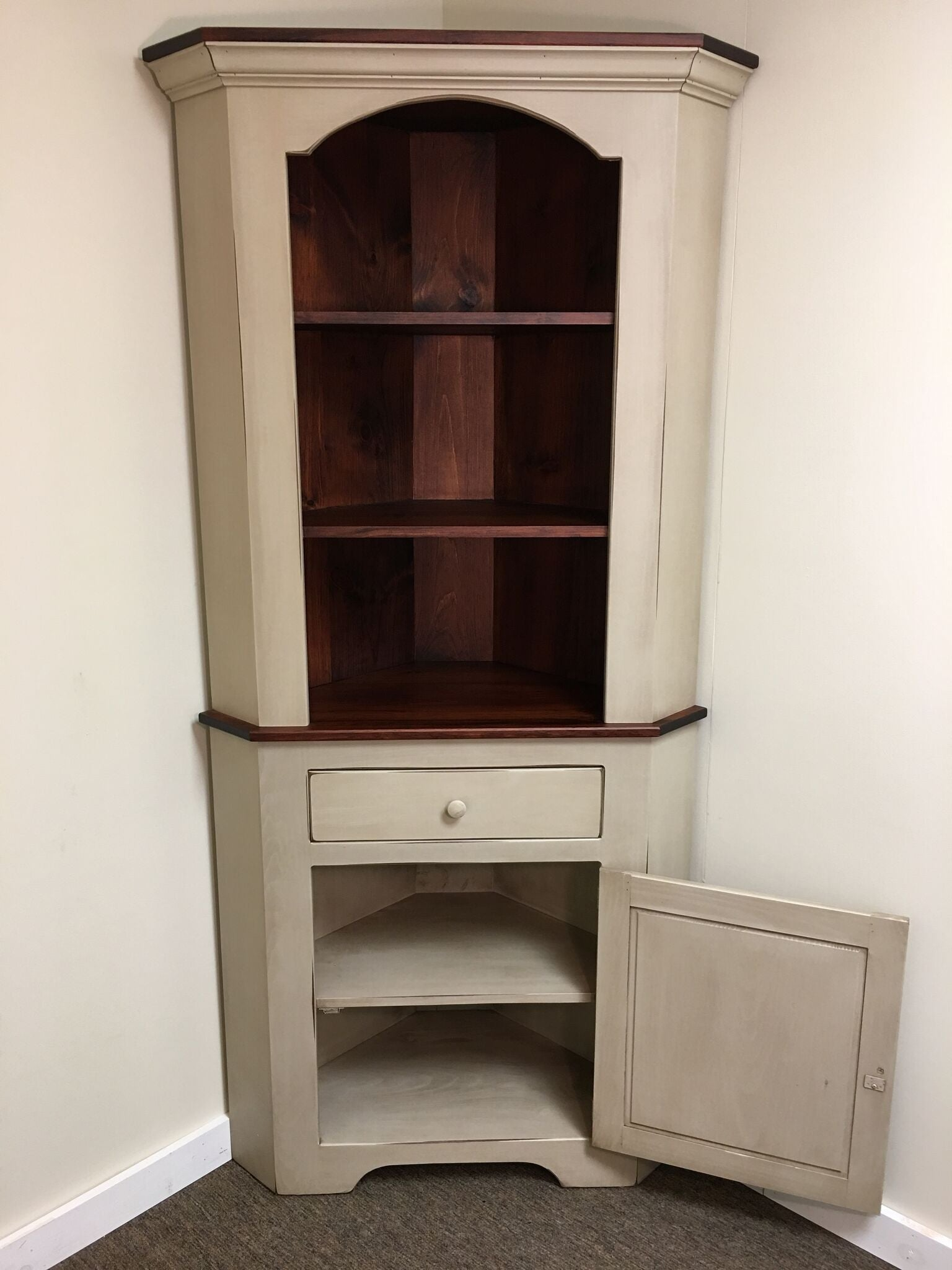 Antique White With Michael S Cherry Corner Cabinet Kc