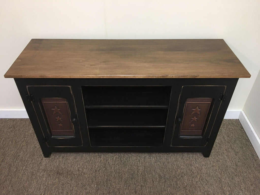 Special Walnut Top/Black Base TV Stand with Copper Star Tin Panels