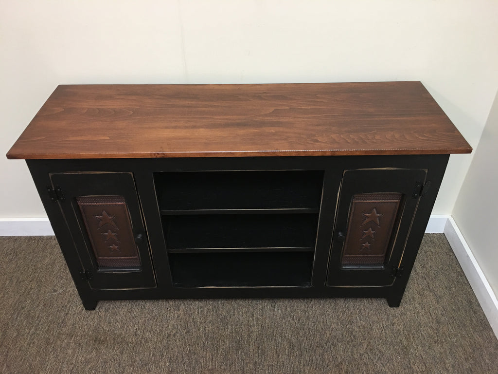 TV stand with Copper Star Tin Panels