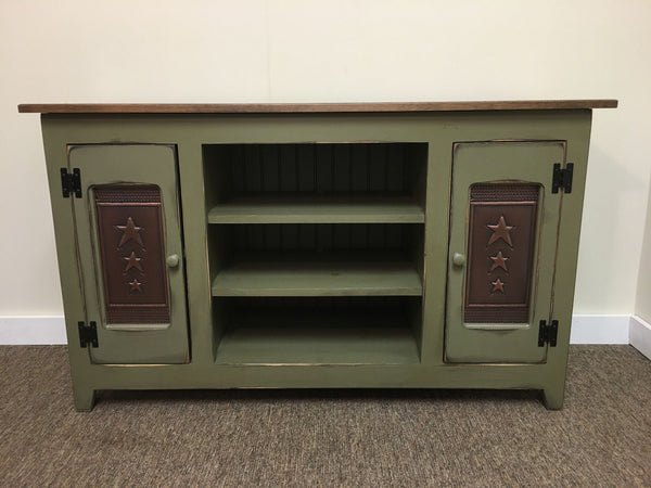 TV Stand with Copper Tin Panels