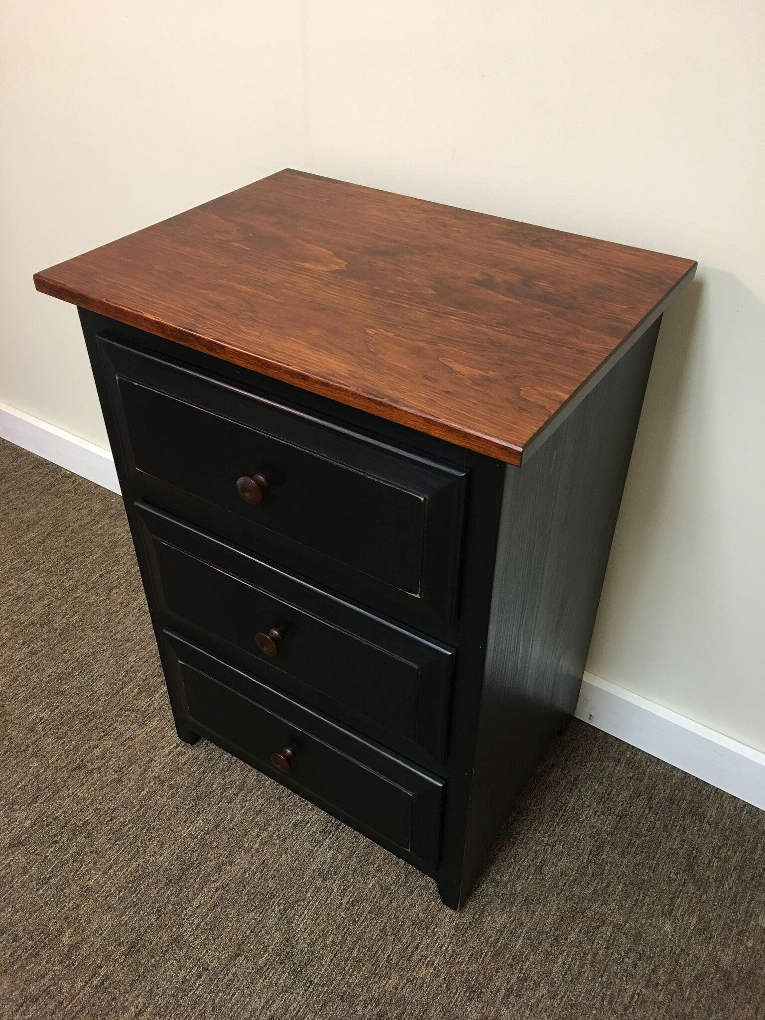 Black Night Stand With Michael S Cherry Top