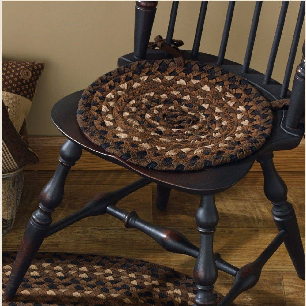 "Shades of Brown 15"" Braided Chair Pad"