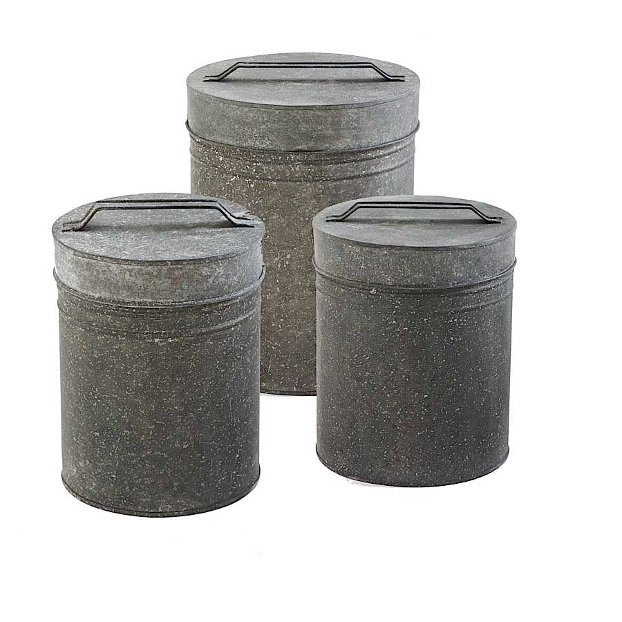 Metal Lidded Containers w/ Handles (Grad Sizes)
