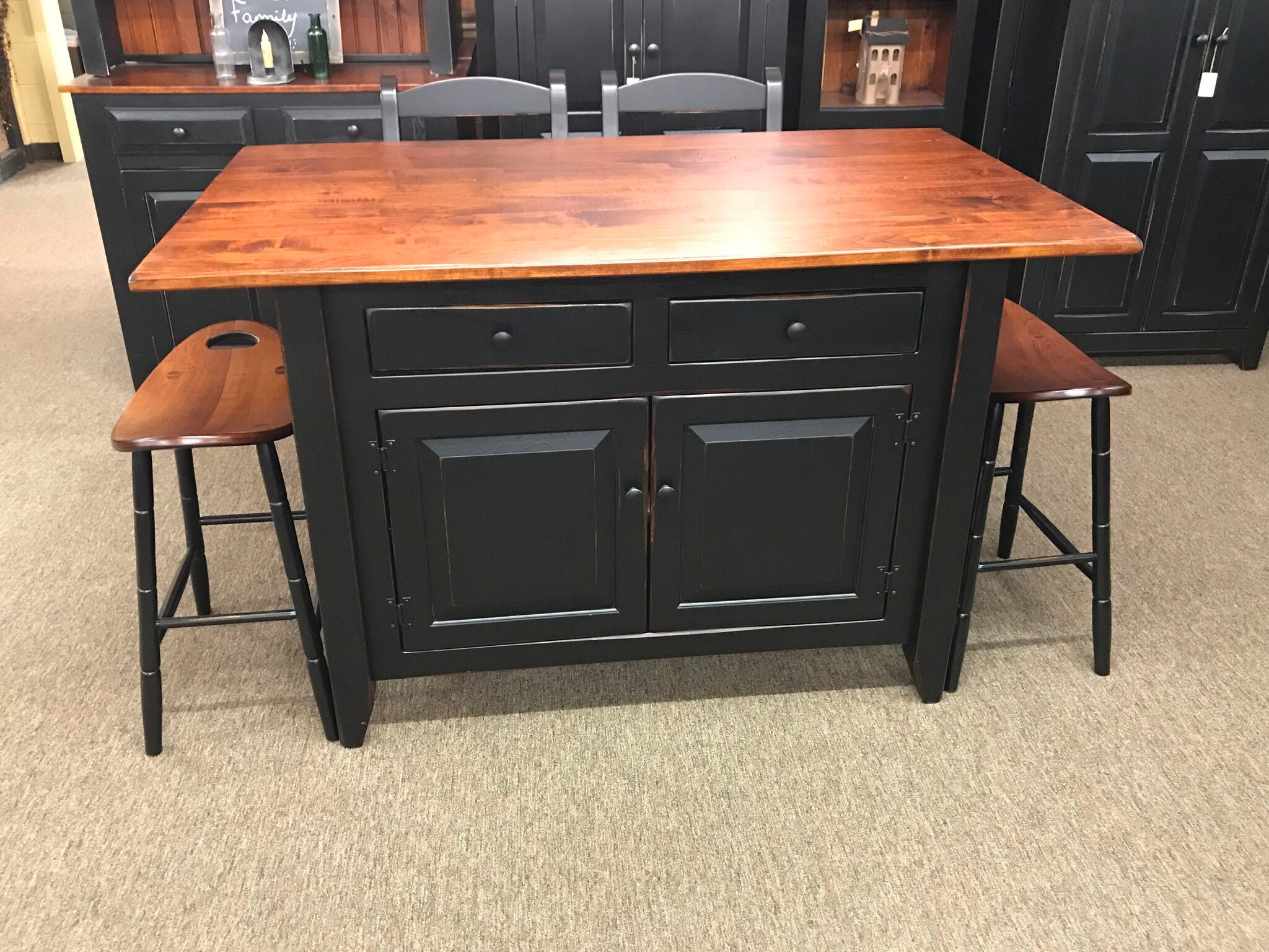 maple kitchen island black kitchen island with 3x5 michael s cherry wormy maple top worn kc country home accents 4451