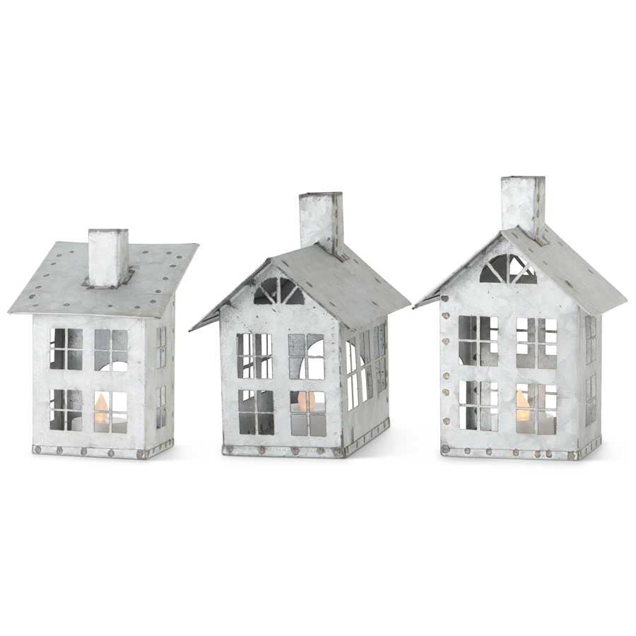 Assorted Galvanized Tin Houses w/Cut Out Windows (3 Styles)