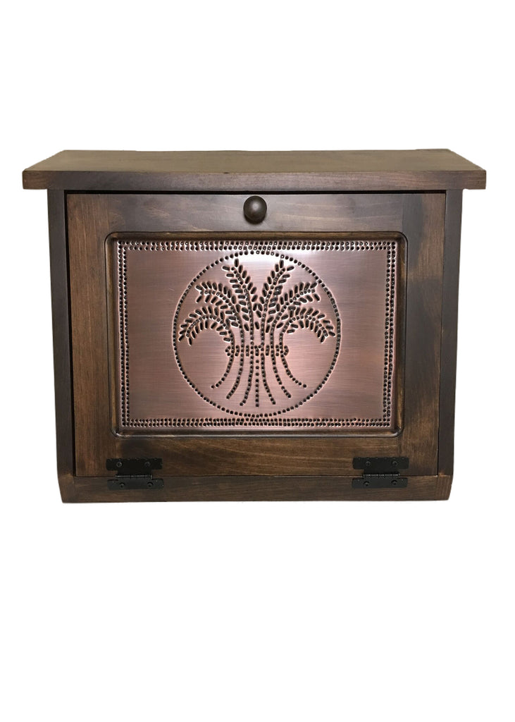 Bread Box with Copper Wheat Tin Panel