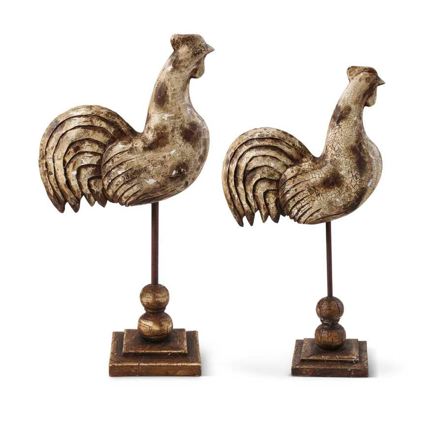 Primitive Roosters On Spindles (Grad. Sizes)