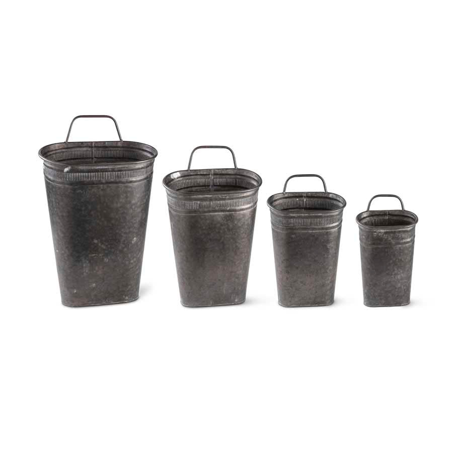 Galvanized Metal Oval Wall Buckets (Grad. Sizes)