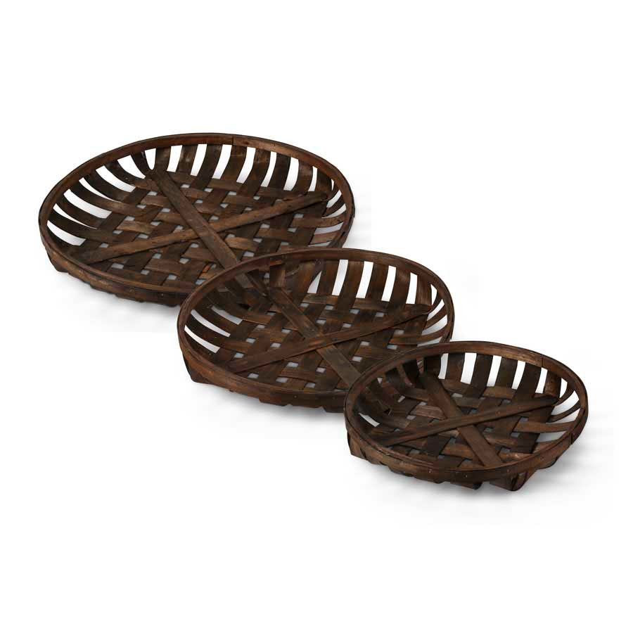 Round Nesting Tray Baskets in Dark Finish (Grad. Sizes)