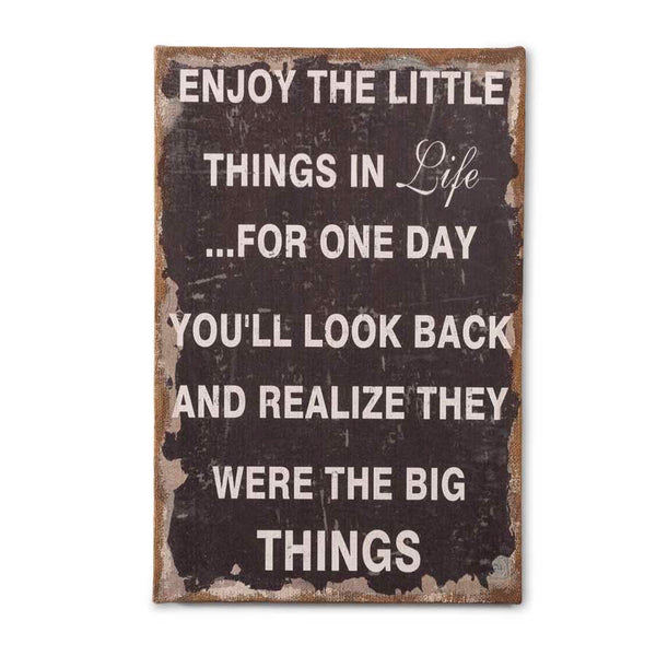 Enjoy the Little Things Burlap Sign