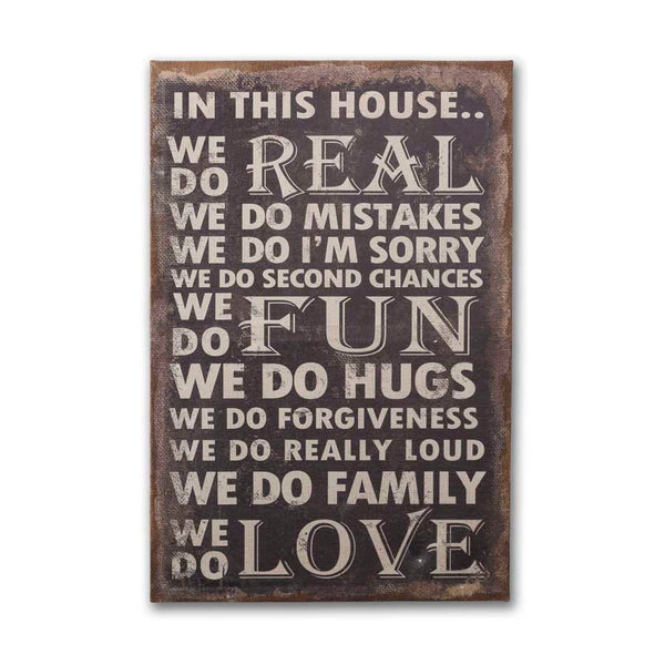 In This House Burlap Canvas Sign