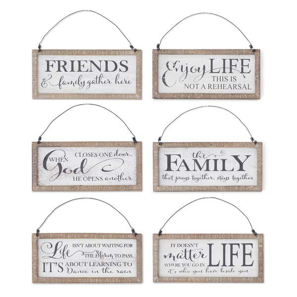 Assorted 8 Inch White Wood Message Ornaments (6 Styles sold separately)
