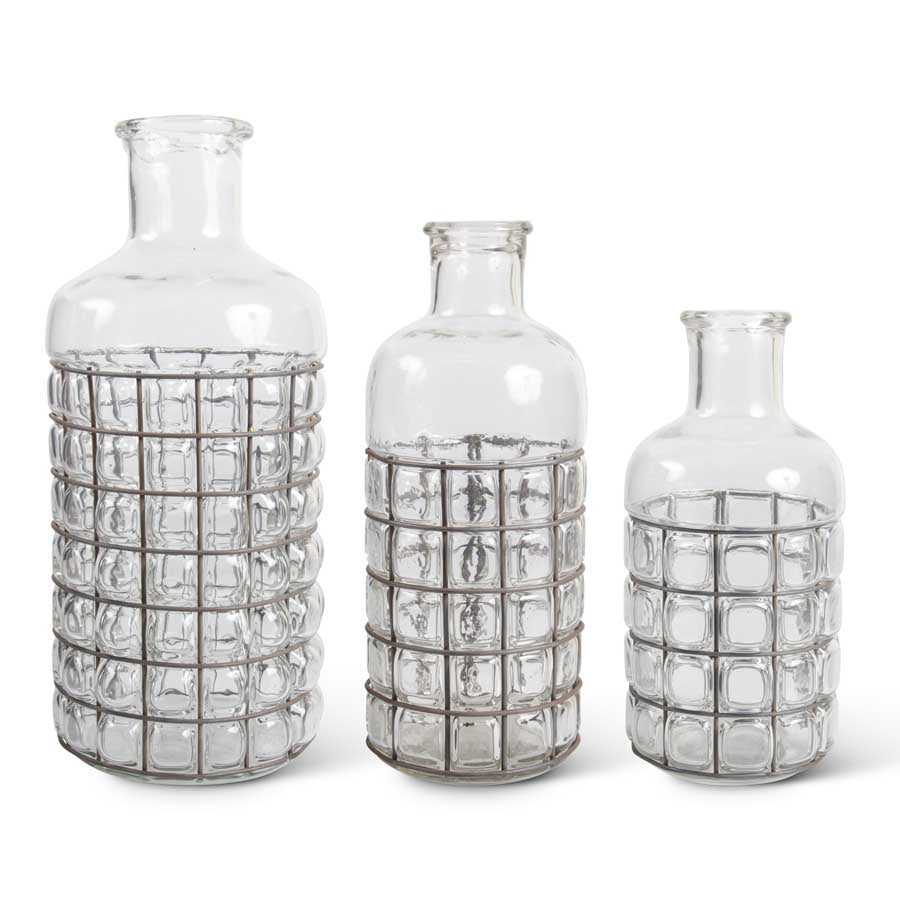 Glass and Metal Caged Bubble Bottles (Grad Sizes)