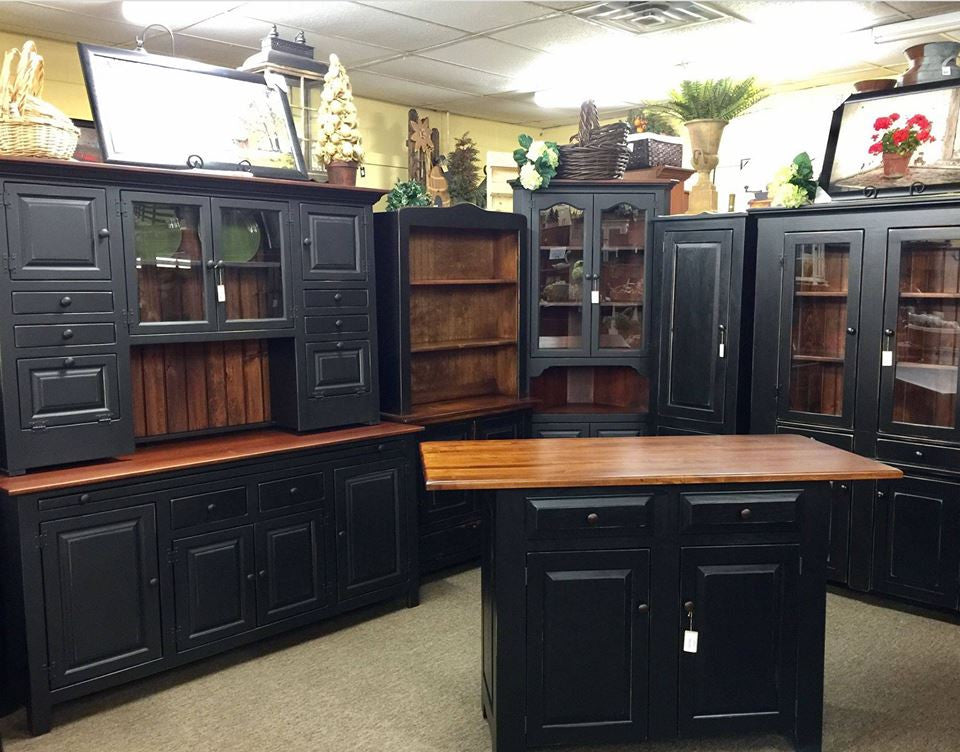 Black Standard Island with Raised Panels and Large Michael's Cherry Top