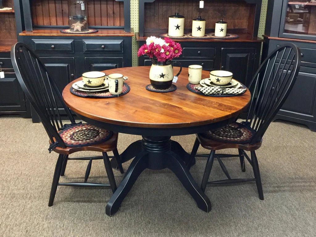 "Black 48"" Pedestal Table with a Michael's Cherry Top"
