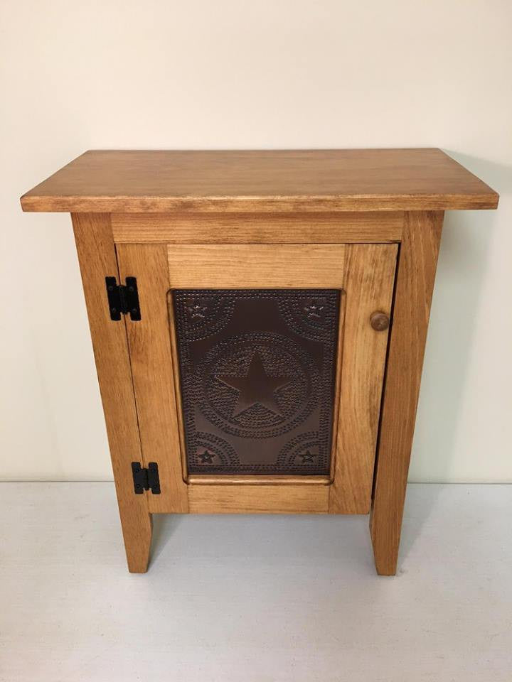 Accent Table-Single Door Cabinet with Tin Panel