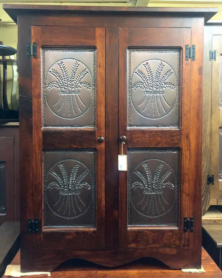 Pie Safe-Double Door with Copper Wheat Tin Panels