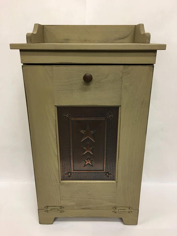 Trash Bin with Copper Star Tin Panel